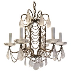 Wonderful French Beaded Swag Rock Crystal Maison Baguès Bird Cage Chandelier