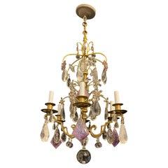 Wonderful French Bronze Bagues Amethyst Rock Crystal Flower 6 Light Chandelier