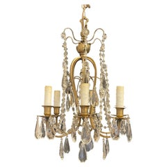 Wonderful French Bronze Baguès Crystal Beaded Swag Flower Petite Chandelier