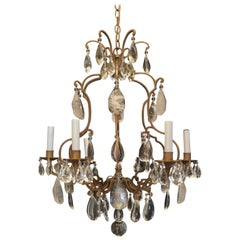 Wonderful French Bronze Baguès Rock Crystal Beaded 6 Light Fixture Chandelier