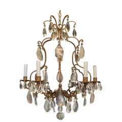 Wonderful French Bronze Baguès Rock Crystal Beaded 6-Light Fixture Chandelier