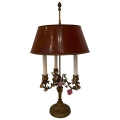 Wonderful French Bronze Candelabra Bouillotte Lamp Porcelain Flowers Tole Shade