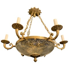 Wonderful French Bronze Cut Crystal Bowl Neoclassical Empire Chandelier Fixture