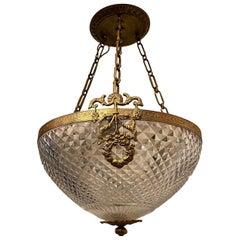 Wonderful French Bronze Cut Crystal Neoclassical Empire Ormolu Bowl Chandelier