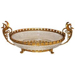 Wonderful French Bronze Diamond Cut Crystal Bronze Oval Centerpiece Swan Handles
