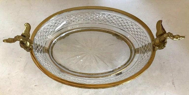 Empire Wonderful French Bronze Diamond Cut Crystal Oval Centerpiece Swan Ormolu Handles For Sale