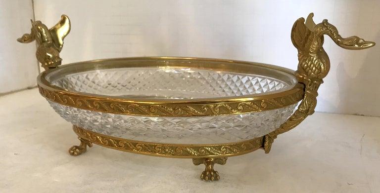Gilt Wonderful French Bronze Diamond Cut Crystal Oval Centerpiece Swan Ormolu Handles For Sale