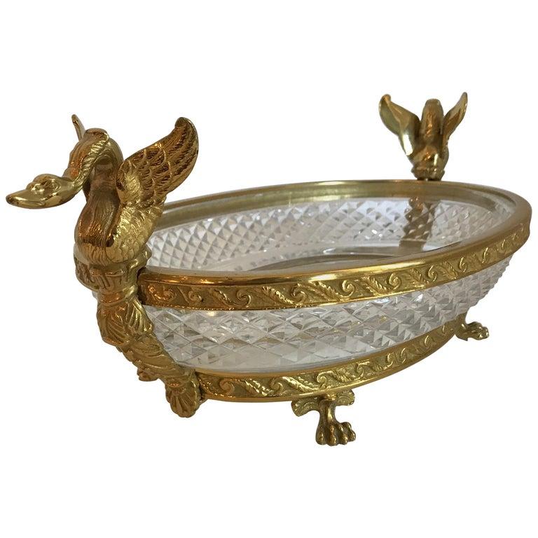 Wonderful French Bronze Diamond Cut Crystal Oval Centerpiece Swan Ormolu Handles For Sale