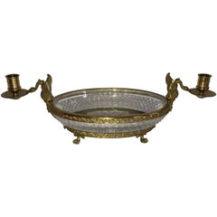 Wonderful French Bronze Diamond Cut Crystal Oval Centerpiece Swan Ormolu Handles