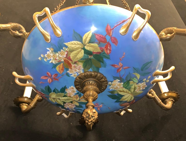 Hand-Painted Wonderful French Bronze Hand Painted Porcelain Chintz Bowl Old Paris Chandelier For Sale