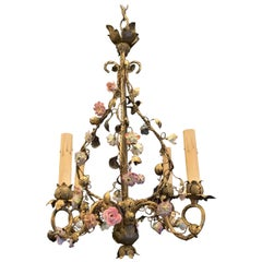 Wonderful French Bronze Porcelain Flower Four-Light Cage Basket Form Chandelier