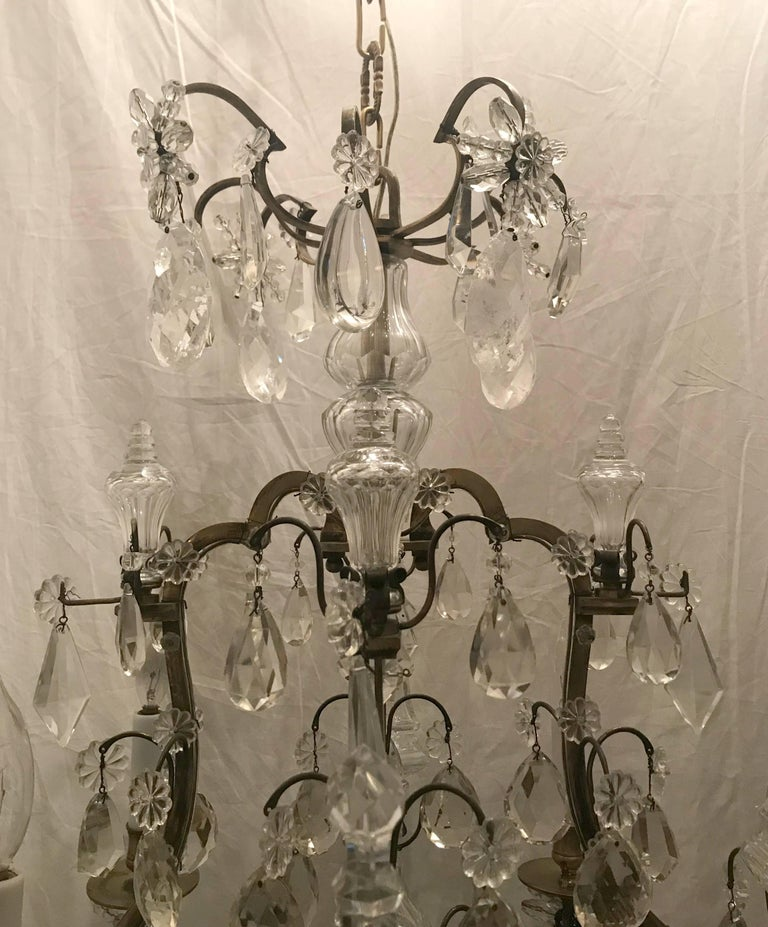Mid-Century Modern Wonderful French Bronze Rock Crystal Bagues Beaded Jansen Midcentury Chandelier For Sale