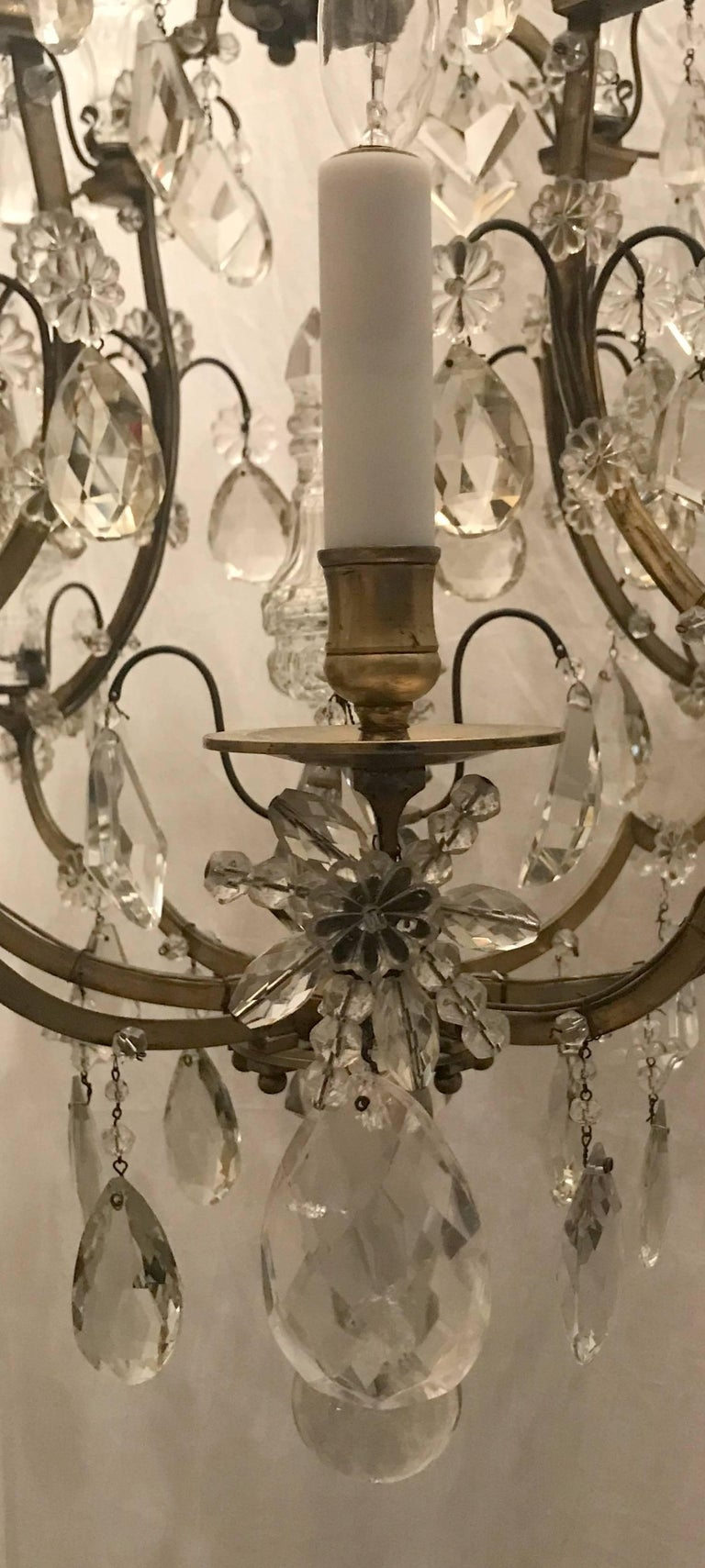 Wonderful French Bronze Rock Crystal Bagues Beaded Jansen Midcentury Chandelier For Sale 1