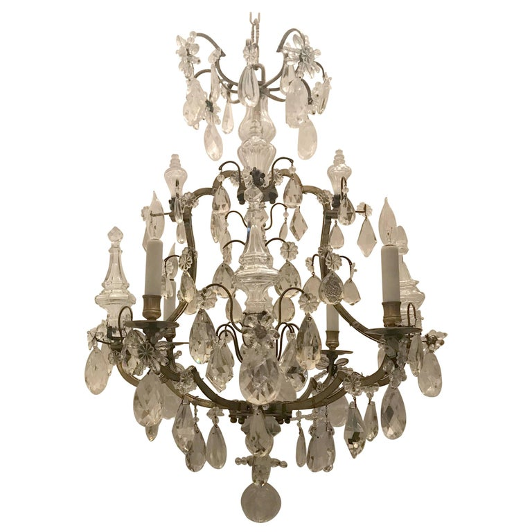Wonderful French Bronze Rock Crystal Bagues Beaded Jansen Midcentury Chandelier For Sale