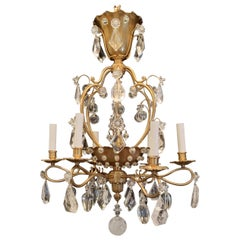 Wonderful French Bronze Rock Crystal Beaded Baguès Chandelier Basket Fixture