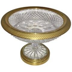 Wonderful French Doré Bronze Cut Crystal Ormolu Pedestal Bowl Baccarat Compote