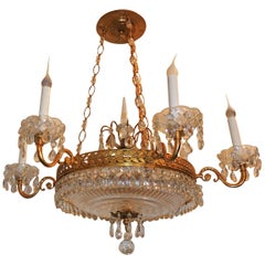 Wonderful French Dore Bronze Neoclassical Baltic Crystal Bowl Empire Chandelier