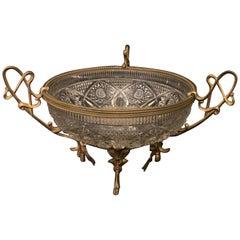 Wonderful French Doré Bronze Ormolu Bow Tassel Crystal Centerpiece Bowl Basket