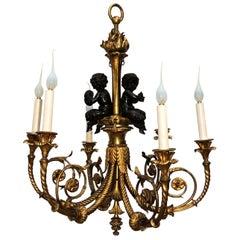 Wonderful French Doré Bronze Patinated Cherubs Putti Chandelier Light Fixture