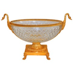 Wonderful French Doré Gilt Swan Handle Bronze Cut Crystal Centrepiece Bowl