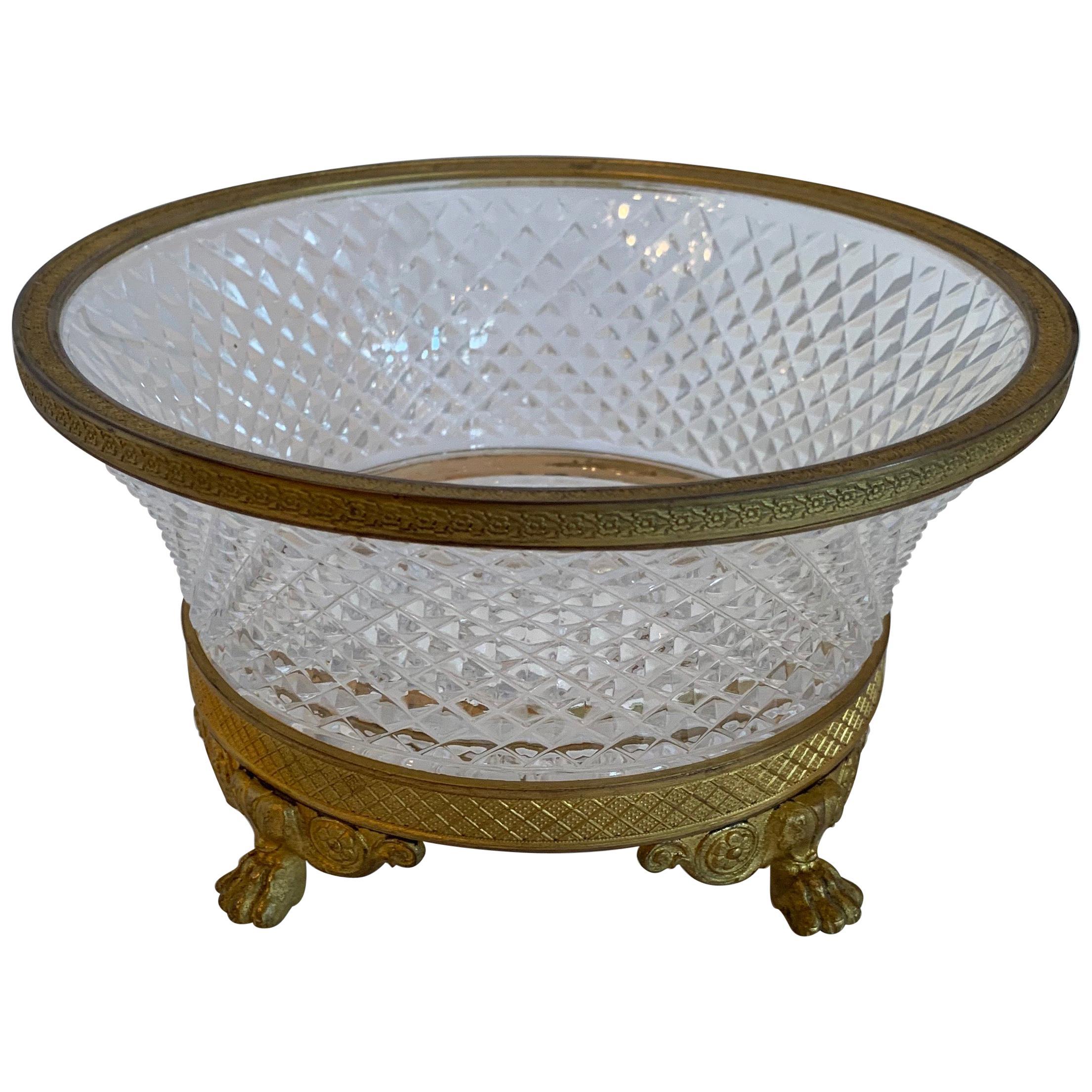 Wonderful French Empire Gilt Doré Bronze & Cut Crystal Round Centerpiece Bowl