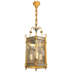 Wonderful French Empire Neoclassical Bronze Bent Glass Petite Lantern Fixture