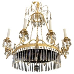 Wonderful French Empire Neoclassical Doré Bronze Purple Glass Crystal Chandelier