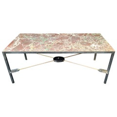 Wonderful French Empire Neoclassical Iron Bronze Arrow Marble-Top Coffee Table