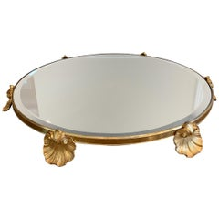 Wonderful French Empire Shell Bronze Neoclassical Plateau Mirror Centerpiece