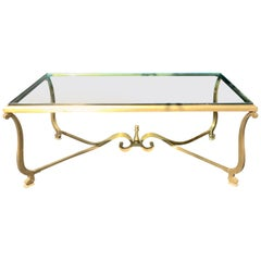 Wonderful French Gilt Bronze Glass Top Coffee Cocktail Table