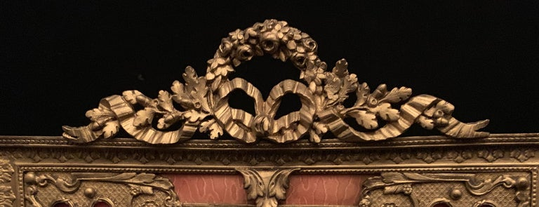 Belle Époque Wonderful French Gilt Bronze Salmon Pink Enamel Bow Top Picture Frame For Sale