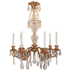 Wonderful French Gilt Doré Bronze Crystal Fixture Seven-Light Chandelier