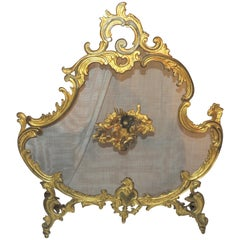 Wonderful French Gilt Doré Bronze Fire Place Screen Trion of Cherubs Firescreen