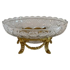 Wonderful French Gilt Doré Bronze Ormolu Swag Cut Crystal Oval Bowl Centerpiece