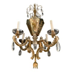 Wonderful French Gilt Reverse Painted Mirrored Beaded Baguès Basket Chandelier