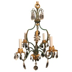 Wonderful French Green Gold Gilt Tole Crystal Flower Baguès Petite Chandelier
