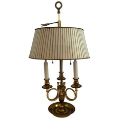Wonderful French Horn Neoclassical Regency Bronze Bouillotte Tole Shade Lamp