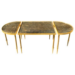 Wonderful French Jansen Baguès Three-Piece Brass Bronze Mirrored Coffee Table