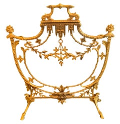 Wonderful French Louis XV Dore Bronze Fireplace Garland Swag Shield Form Screen