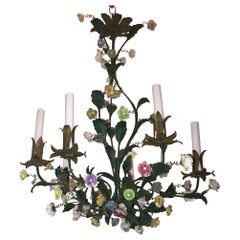 Wonderful French Louis XV Polychrome Porcelain Flowers Tole Green Chandelier