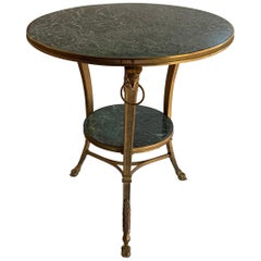 Wonderful French Louis XVI Bronze Ormolu Marble-Top Two-Tier Guéridon Table