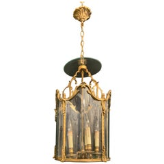 Wonderful French Louis XVI Gilt Bronze and Curved Panel Glass Lantern Fixture