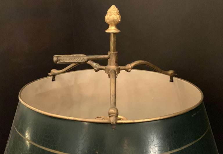 20th Century Wonderful French Louis XVI Gilt Bronze Three-Arm Bouillotte Lamp Swan Tole Shade For Sale