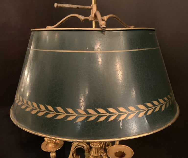 Tôle Wonderful French Louis XVI Gilt Bronze Three-Arm Bouillotte Lamp Swan Tole Shade For Sale