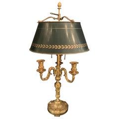 Wonderful French Louis XVI Gilt Bronze Three-Arm Bouillotte Lamp Swan Tole Shade