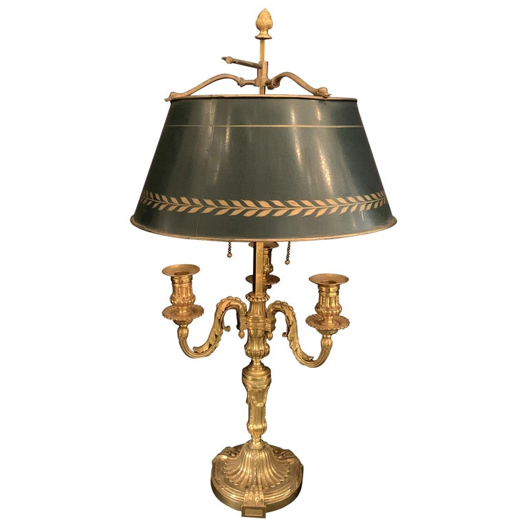 Wonderful French Louis XVI Gilt Bronze Three-Arm Bouillotte Lamp Swan Tole Shade For Sale
