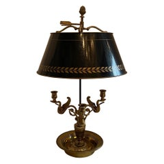 Wonderful French Louis XVI Gilt Bronze Three-Arm Swan Bouillotte Lamp Tole Shade