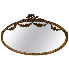 Wonderful French Louis XVI Horizontal Oval Giltwood Swag Over Mantle Mirror