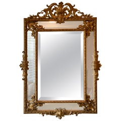 Wonderful French Louis XVI Philippe Style Cushion Wood Carved Gold Gilt Mirror
