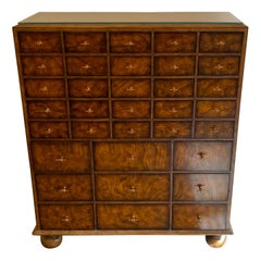 Wonderful French Louis XVI Tan Tooled Leather Multi Drawer Chest Maitland Smith